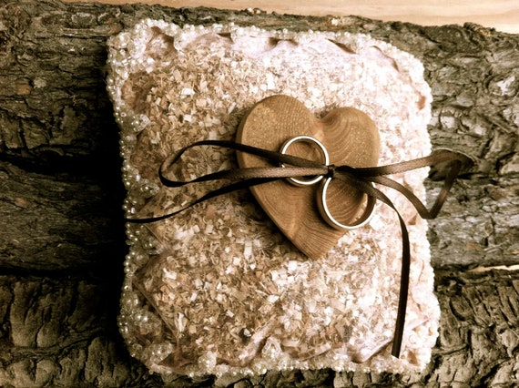 Rustic wedding ring bearer pillow holder country wooden heart