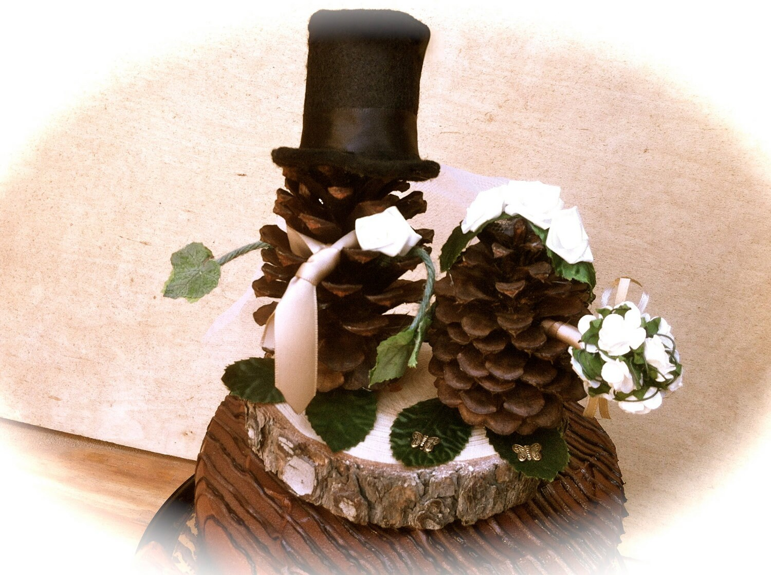 Pine Cone Wedding Topper Bride Groom Rustic Fall by MomoRadRose