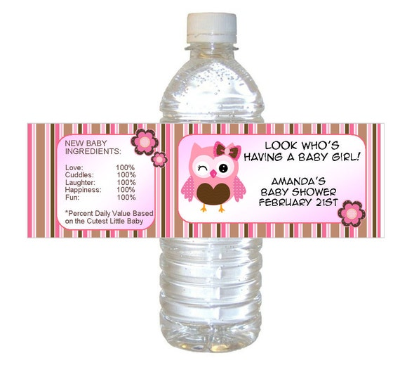 pink owl baby shower waterproof water bottle labels set of 12