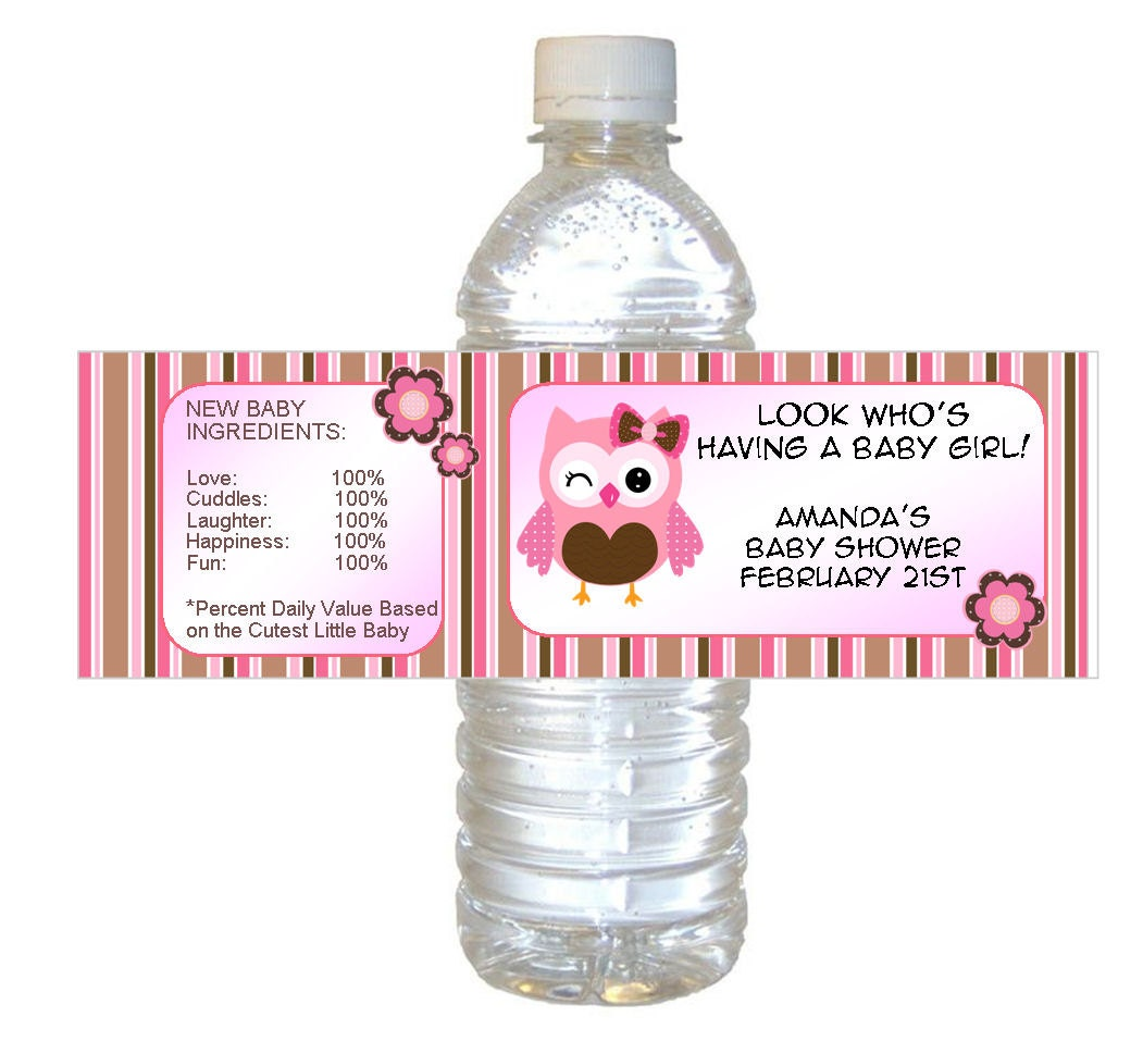 personalized pink owl baby shower waterproof water bottle