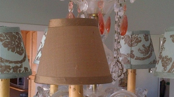 Chandelier Lampshade chocolate brown dupioni silk clip lampshade