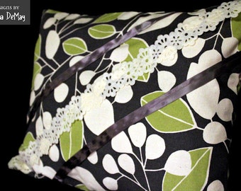 Green and Grey Contemporary Pillow Cover