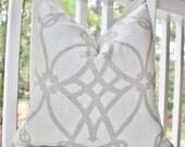 Grey Pillow - Gray Geometric Pillow - Geometric Scroll Pillow - Grey Ivory Trellis Pillow - Decorative Pillow Cover - Linen 18 x 18