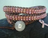 Pink and brown leather wrap bracelet in honor of Breast Cancer Awareness, Chan Luu style 3xwrap leather bracelet
