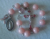 Single-decade Rosary - Pink Jade one decade rosary or chaplet