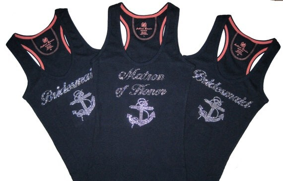 NAUTICAL WEDDING   3 Rhinestone Bridesmaid Tank Tops with Anchor. Small to XXXL. Bride. Bridesmaid. Maid of Honor.