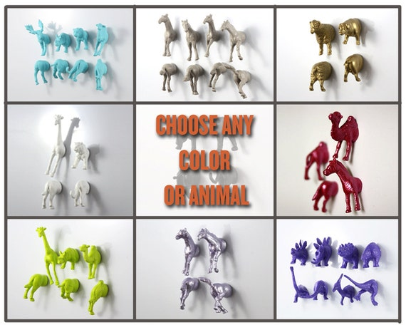 YOUR PICK - Choose any color or animal type to make your own set of four magnets (2 whole animals)