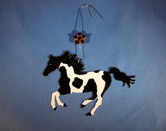 Metal Black and White Paint Horse Ornament w/ Star