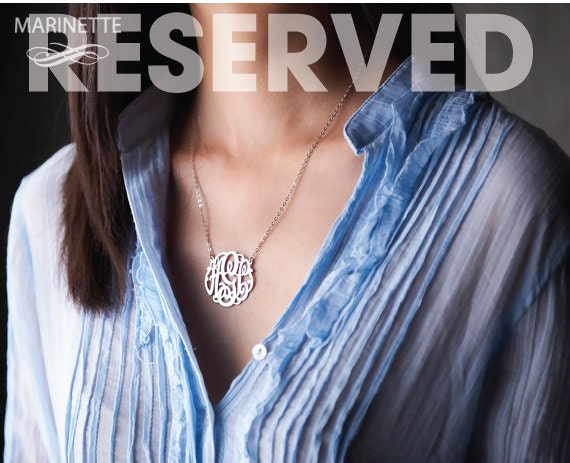 Reserved for NIKKI - 1.25 inch Monogram necklace in sterling silver - Letters SRJL - EMS shipping