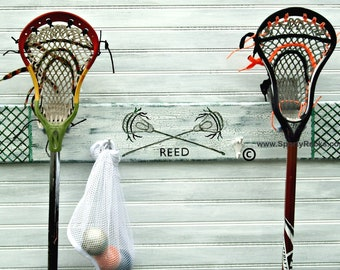 Lacrosse Sport Stick Hanger Name Lax Jersey Number Team Colors Personalized Custom Wall Rack MTO Athletic School Colors