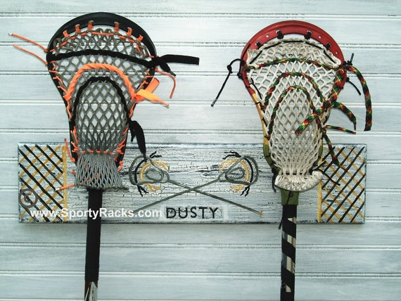 Lacrosse Rack Custom Personalized Team Colors Lax Stick Hanger Jersey Number Sports Room Decor School Sport Wall Decor Athletic Organizer