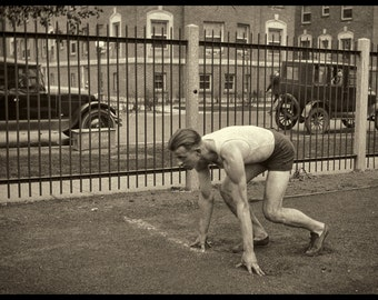 Olympic Sprint Training Perhaps,  Original 1920s to early 30s Vintage Image