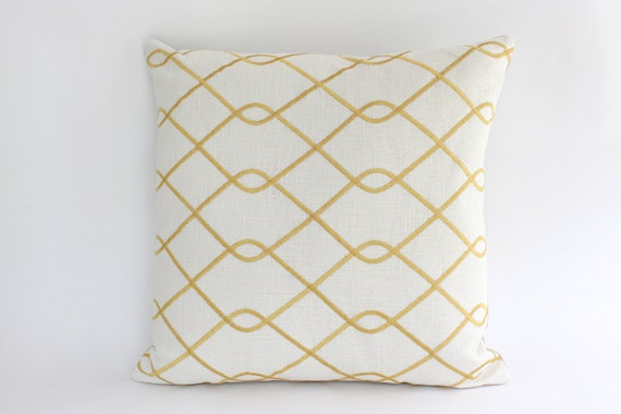 20x20 Designer Pillow Cover with Embroidered Yellow Trellis Design
