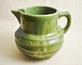 Green Stoneware Pitcher / Green Pottery Pitcher / Ribbed Pitcher / Vintage Pitcher