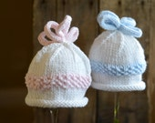 Twin Photo Prop, Twin Baby Hat Set, Baby Boy Twin Set, Baby Girl Twin Set, Knitted Twin Hat Set, Blue and PInk Twin Hats, Twin Baby Hats