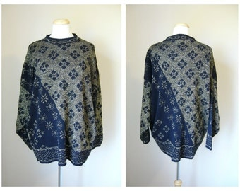 Vintage OVERSIZED HIPSTER SWEATER in Black and Gold/ size small-medium
