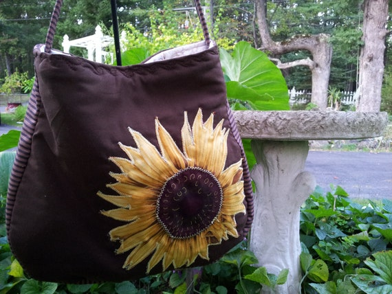 Quilted sunflower fall/autumn purse