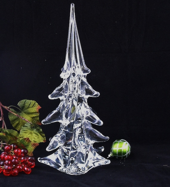 Vintage 12 inch Tall Large Glass Swirl Twisted Christmas Tree Figure