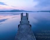 Calm Sunrise over Cement Pier, Salt Fork State Park, Waterscape Fine Art Print, Ohio, 8 x 12 Photo