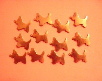 12 Vintage Coppercoated 17mm Doggy Charms with Loop