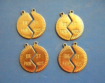 4 Pr. of Vintage Brass 25mm Best Friends Charm Pendants