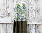 Flirting with Flowers Sundress upcycled green floral spaghetti strap dress hippie boho eco