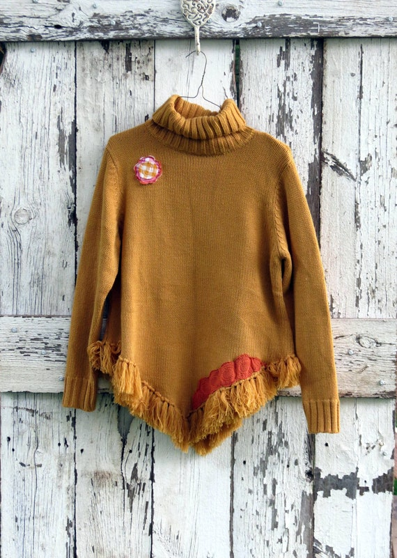 Golden Gingham Poncho Sweater/ upcycled gold hippie cape/ eco friendly OOAK boho sweater