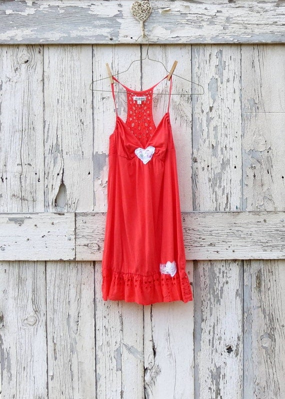 Caught in Love on Coral Sundress upcycled eyelet beach cover up eco friendly tangerine orange with eyelet