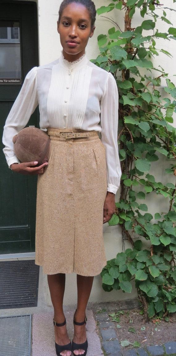 Camel Tweed High Waisted 1940s Skirt