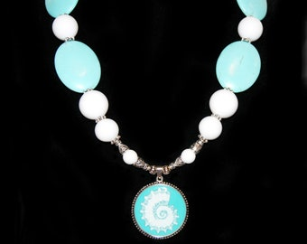Turquoise Shell Pendant Necklace