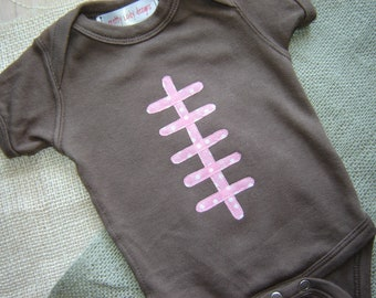 Custom Girl Football Onesie or Shirt with Pink Laces - Fall - Sports