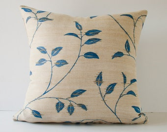 Blue leaves decorative pillow, throw pillow cover, accent pillow 18 x 18 Inches pillow cover beige / sand and blue leaves