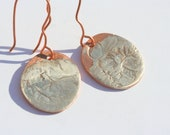Reticulated Sterling Copper Oval Earrings