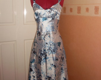 Blue Floral Summer Dress UK SIZE 8