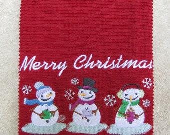 "Embroidered Christmas ""Snowman Trio"" Kitchen Towel"