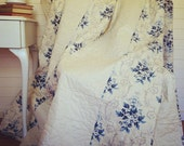 Handcrafted French Provincial Shabby Chic Patchwork Queen Bed Size Quilt in Vintage Blue French General Fabric by Moda
