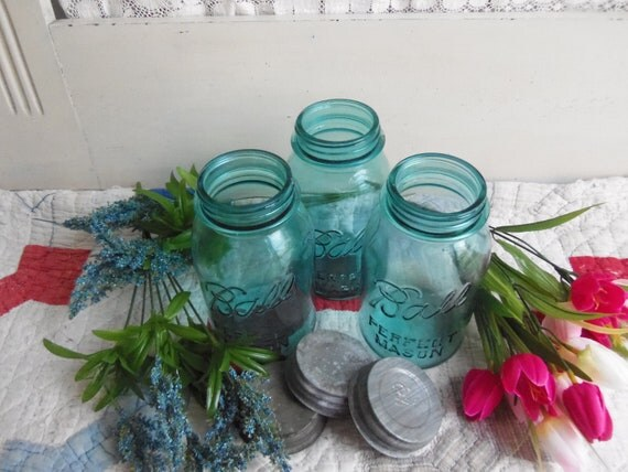 3 Vintage Aqua Blue Quart Sized Ball Perfect Mason jars with Zinc Lids