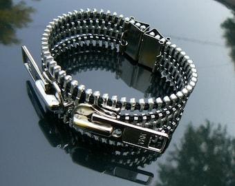 Industrial Zipper Cuff - Chain Bracelet - Zipper Jewelry