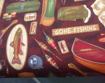 Fishing Tackle Cotton Fabric