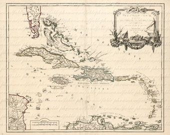 Map Of Antilles From The 1700s 106 Map Tropical Vacation Caribbean West Indies Cuba Jamaica Haiti Dominican Republic  Bahamas Puerto Rico