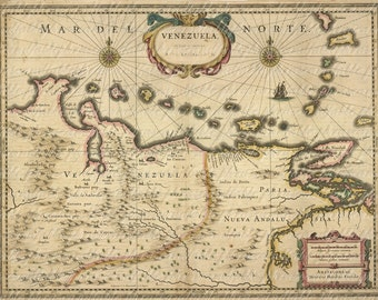 Map of Venezuela From The 1600s 157 Image Digital Download Caracas Bolivarian Republic of Venezuela South America Amazon Andes Orinoco