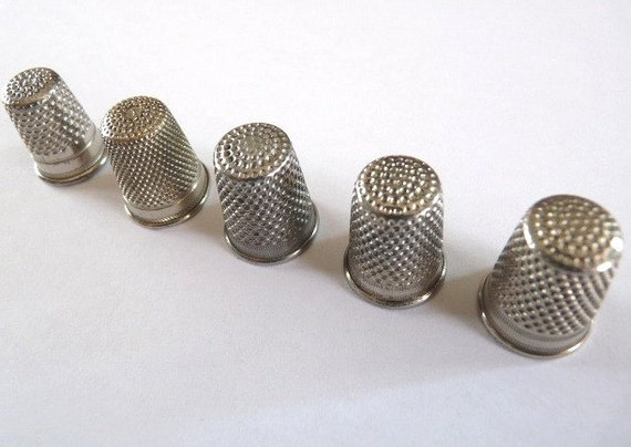 FREE SHIPPING, Vintage THIMBLE Collection, 5 silver coloured thimbles.