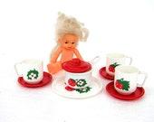 Doll tea cup sugar bowl vintage miniature set kids room decor children play playing strawberries dollhouse