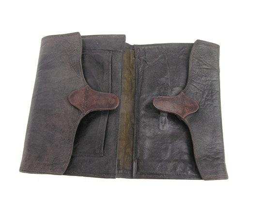 Antique black real leather money wallet big vintage large