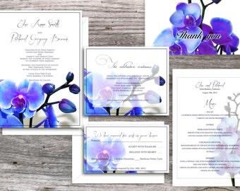 Orchid PRINTABLE WEDDING INVITATIONS  - Santa Monica Blue Orchid Suite