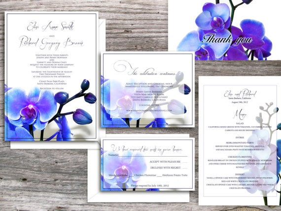 Orchid PRINTABLE WEDDING INVITATIONS  - Santa Monica Blue Orchid Suite