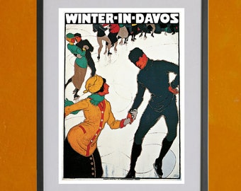Winter In Davos Travel Poster, 1914 - 8.5x11 Poster Print - also available in 13x19 - see listing details