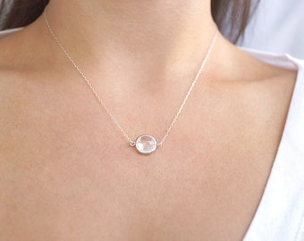Raw Quartz & Sterling Silver Necklace