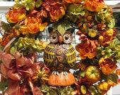 Fall wreath, Autumn wreath, owl Wreath,Floral Wreath, Door Wreath, fall colored peonies, hydrangeas and sunflowers, pumpkins