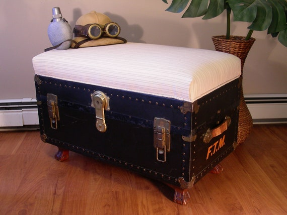 Vintage Trunk With Upholstered Bench Seat